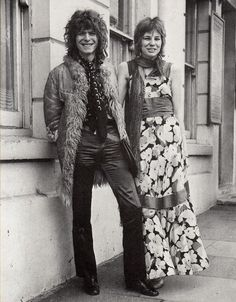 1970 - David Bowie and ex-wife Angie, wedding day 70s.