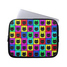 Rainbow Square Cat Pattern Computer Sleeve (£21) ❤ liked on Polyvore featuring accessories, tech accessories and cat