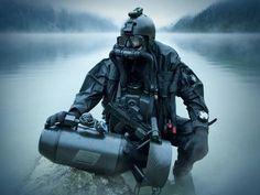 Special operations forces combat diver with underwater propulsion vehicle Canvas Art - Tom WeberStocktrek Images x Military Gear, Military Police, Usmc, Military Spouse, Military Outfits, Us Navy Seals, Military Special Forces, Tribute, Special Ops