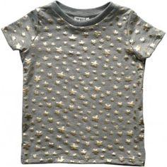 Grijs T-shirt met gouden sterretjes - Beau Loves