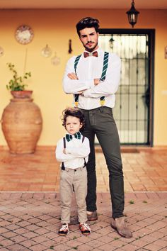 Handsome gents! Suspenders & bow ties