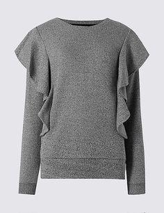 PER UNA Ruffle Long Sleeve Sweatshirt T41/4989 $49.00