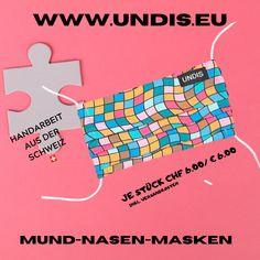 Bei UNDIS www.undis.eu gibt es jetzt auch MUND-NASEN-MASKEN im Partnerlook für Erwachsene und Kinder. Je Stück CHF 6,00 / € 6,00 (Versandkosten sind im Preis inkludiert) #undis #maskeauf #behelfsmaske #mundnasenmaske #mundmaske #gesichtsmaske #nähen #kreativ #bunt #maske #corona #virus #maske #mundnasenschutz #deutschland #schweiz #österreich #maske #kinder #eltern #diy #partnerlook #bunt #gesundheit #mundnasemaske Bunt, Corona, Funny Underwear, Kids, Men's Boxer Briefs, Great Gifts, Switzerland, Parents, Masks