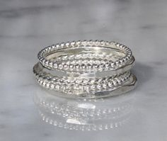 5 Skinny Argentium Sterling Silver Stacking Rings by sherisdesigns, $45.00