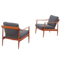 """Wilhelm Knoll """"Antimott"""" Easy Chair Set Mid-Century Modern Design Teak   From a unique collection of antique and modern armchairs at https://www.1stdibs.com/furniture/seating/armchairs/"""