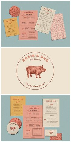 restaurant layout restaurant layout Rosies BBQ brand design by Kendra Lebo Design Brochure, Design Logo, Web Design, Brand Identity Design, Graphic Design Branding, Graphic Design Posters, Corporate Design, Graphic Design Inspiration, Typography Design