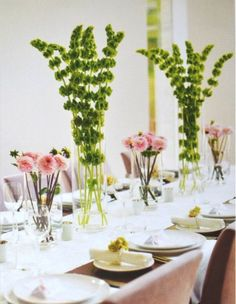 What do you think of the Bells of Ireland (tall green flowers)? Not for the tables, but in large jars as in the ceremony or elsewhere (I'd likely add some other greenery).