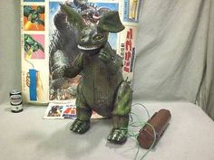 Vintage 1970 Japanese Bullmark BARAGON RC Walking KAIJU Tin Toy GODZILLA