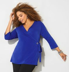 Get tops with tie details like our new plus size Tie Front Grommet Wrap Top available in sizes 14-32 online at avenue.com. Avenue Store