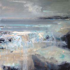 Silver Seas, Godrevy. Oil painting on board by Hannah Woodman.: