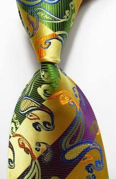 0367df40f7f2 New Paisley Striped Gold Green Purple JACQUARD WOVEN 100% Silk Men's Tie  Necktie Neck Ties