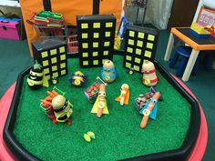 Our Supertato small world has been a HUGE hit this morning! Lots of role playing the story. Dinosaur Small World, Small World Play, Superhero Classroom, Superhero Party, Story Sack, Continuous Provision, Eyfs Activities, Enrichment Programs, Tuff Tray