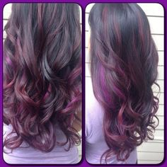 Brown hair with cherry coke and fuchsia highlights