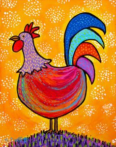 Little Red Rooster, Folk Art Print
