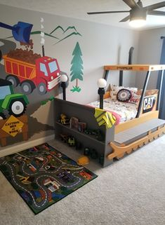 Bulldozer Bed PLANS (pdf format), Create a Construction Themed Bedroom for your Child, Perfect for the DIY Woodworking Enthusiast Construction Bedroom, Woodworking Enthusiasts, Bed Dimensions, Cost To Build, Bed Plans, Diy Bed, Bedroom Themes, Design Files, Bed Design