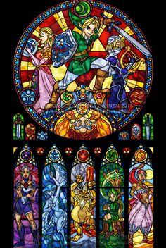 Full Size Zelda: Ocarina of Time - Stained Glass Transparency Print