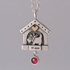In the Doghouse Pendant Presents For Dog Lovers, Temple Jewellery, Scottie Dog, Cute Bows, Dog Houses, Little Dogs, Heart Of Gold, Precious Metals, Garnet