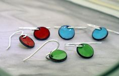 Enamel Dot Earrings  colorful earrings by by KathrynRiechert, $18.00