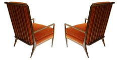 J.Widdicomb 1950s Walnut and Mohair Upholstered Armchairs w670 x d650 x h1010mm - Gordon Watson