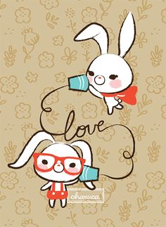 Conejos hablando de amor by Charuca (Rabbits love ... talking on a string phone)
