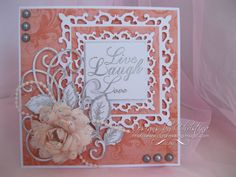 Flowers, Ribbons and Pearls, Spellbinders Fleur de Lis Squares Heartfelt Creations Cards, Spellbinders Cards, Scrapbook Cards, Scrapbooking, Square Card, Die Cut Cards, Marianne Design, Paper Cards, Cool Cards