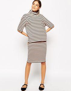 Ganni+Jersey+Pencil+Skirt+in+Rose+Stripe