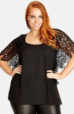 City Chic 'Lace Divine' Top (Plus Size) available at #Nordstrom
