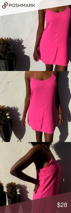 90's Hot Pink Spagetti Strap Mini Dress Love this little lady - the model too! Hot pink and ready to party, this 90's-esque piece is a dual layer shift dress, screams Donna Martin at the Peach Pit After Dark and can take you places where you will always lead the way.   Fits a 4-6, true Medium.  Like New. Topshop Dresses Mini