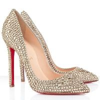 Christian Louboutin Pigalle 120mm Strass Pointed Toe Pumps Gold