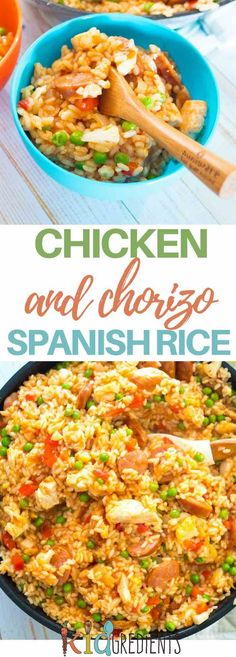Chicken and chorizo spanish rice, the perfect one pot dinner! Great in a thermos the next day too! #kidgredients #kidsfood #rice #chorizo #chicken via @kidgredients
