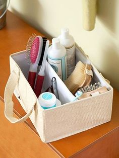 Basket with Supplies. Fetch grooming supplies easily with this organized handled tote.