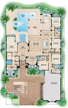 If ever get a luxury home, this floor plan would be the layout of my dream home. Plan#175-1086. Cambiaria el lugar del estudio y el baño de piscina y agrandaria el closet de las piezas, el resto perfecto!