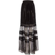 Alice by Temperley Long Misty Skirt (2.665.690 IDR) ❤ liked on Polyvore featuring skirts, black, black flare skirt, long sheer skirt, polka dot maxi skirt, black maxi skirt and black flared skirt