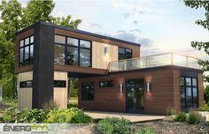 Maisons modulaires préfabriquées énergétiques - ÉNERGÉCO Shipping Container Home Designs, Cargo Container Homes, Container House Plans, Tiny House Design, Modern House Design, Ranch Style Homes, Prefab Homes, Home Design Plans, Future House
