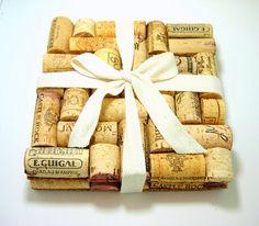 DIY wine cork trivets.  Cute gift idea!
