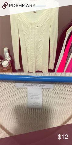 Cream Cable Knit Sweater Cream cable knit sweater. Charlotte Russe Tops Sweatshirts & Hoodies