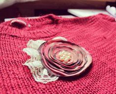 Dark Pink FABRIC FLOWER Handmade Fabric Flower Brooch by Gabiworks