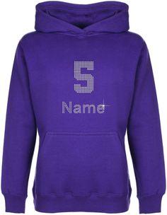Personalised Number 5 Rhinestone Diamante Embellished Kids'Hoodie Gift for Girls #GuildenFDMFruitOfTheLoomorequivalent #Hoodie