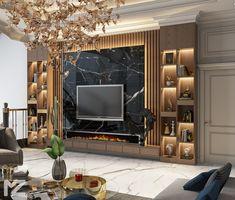 Living Room Partition Design, Room Partition Designs, Living Room Tv Unit Designs, Ceiling Design Living Room, Tv Wall Design, Living Room Wall Units, Home Room Design, House Design, Tv Unit Interior Design
