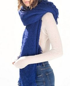 Pure Color Tassels Scarf