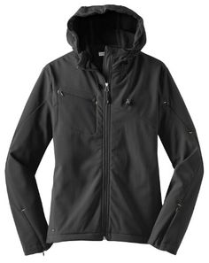 Port Authority - Ladies Textured Hooded Soft Shell Jacket. L706 - Charcoal/Lemon Yellow_M