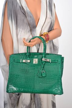 HERMES BIRKIN BAG 35cm EMERALD GREEN CROCODILE (VERT ÉMERAUDE) Janefinds
