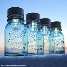 Mason Jars Solar Lights ~ just set outdoors in the sun to charge and watch them glow at night