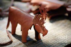 Leather art piece of an elk