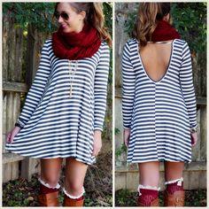 SZ LARGE Line Up Charcoal Striped Scoop Back Dress