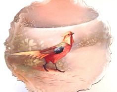 Limoges Antique Plate by B&H,  Game Bird Pheasant Hand Painted Porcelain Plate, Limoges France Blakeman Henderson