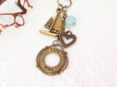 Bronze Life Ring Planner Charm Bag or Purse Charm by PrettySang