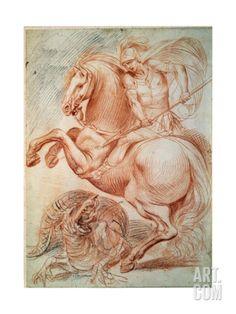 Saint George and the Dragon, 17th Century Giclee Print by Giuseppe Cesari at Art.com