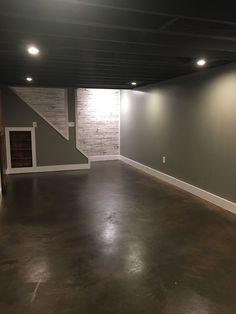 Behr concrete dye- for flooring. Behr concrete dye- for flooring. Basement Living Rooms, Basement Makeover, Basement House, Basement Renovations, Home Remodeling, Basement Ideas, Basement Ceilings, Exposed Basement Ceiling, Basement Staircase