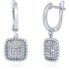 BERRICLE Sterling Silver CZ Square Dangle Drop Earrings ($41) ❤ liked on Polyvore featuring jewelry, earrings, clear, dangle earrings, women's accessories, sterling silver earrings, drop hoop earrings, sterling silver drop earrings and cubic zirconia dangle earrings